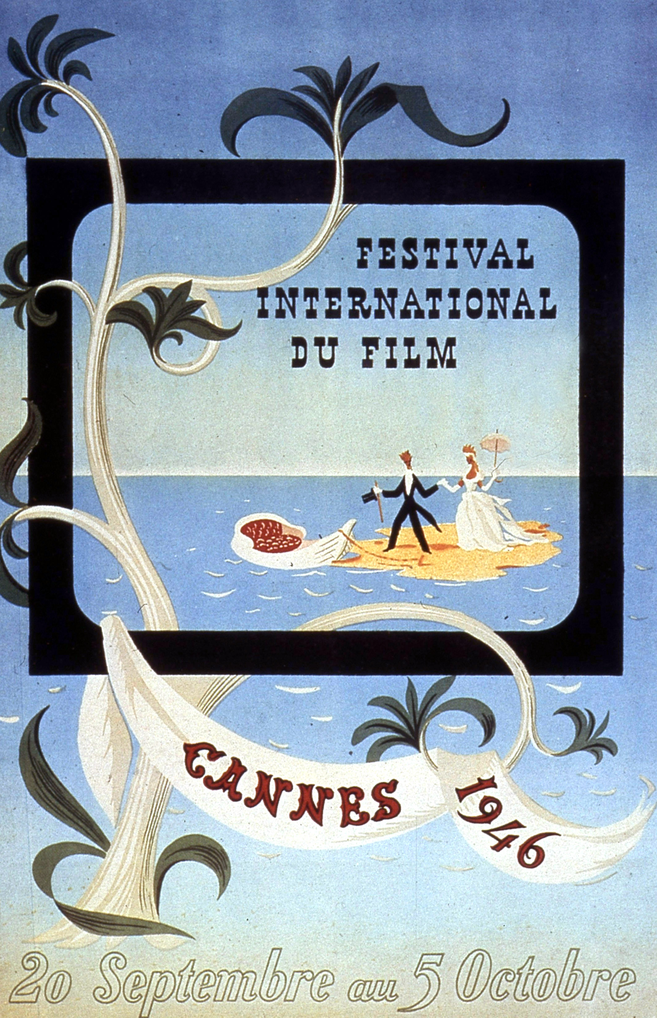 Poster by Leblanc for International Film Festival in Cannes in 1946
