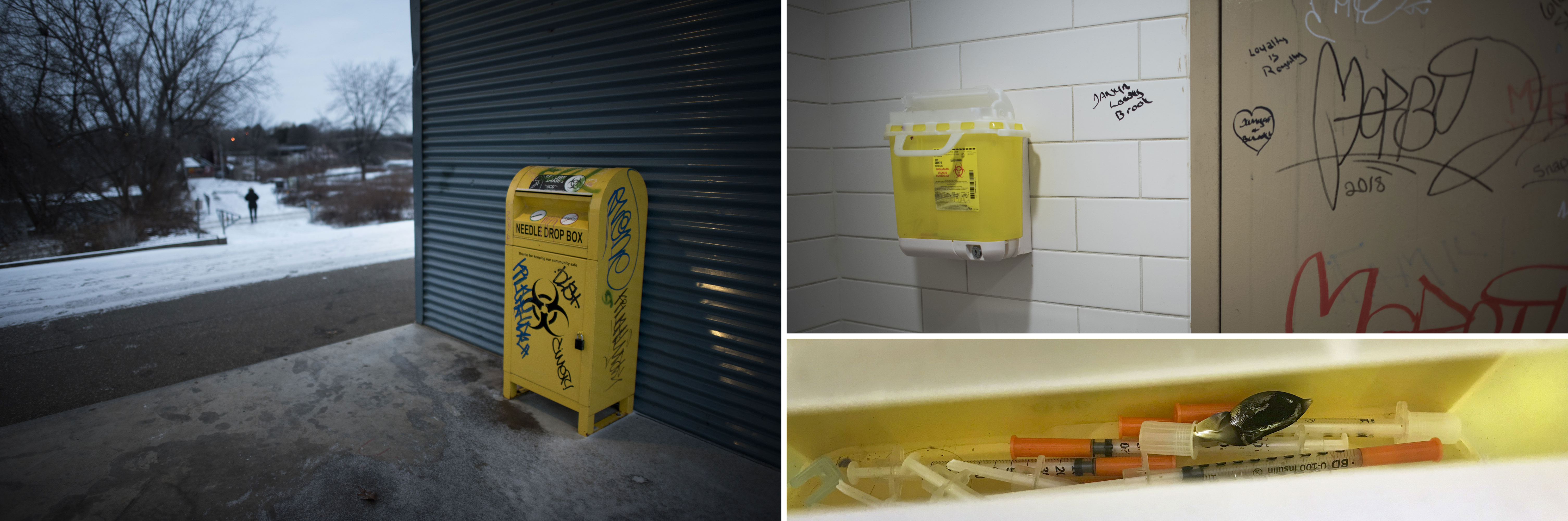 Yellow boxes to dispose of used needles are now a fixture in Brantford. At left, a dropbox outside the Elements Casino Brantford; at right, a sharps collector hangs from the wall of a washroom at a downtown Tim Horton's.