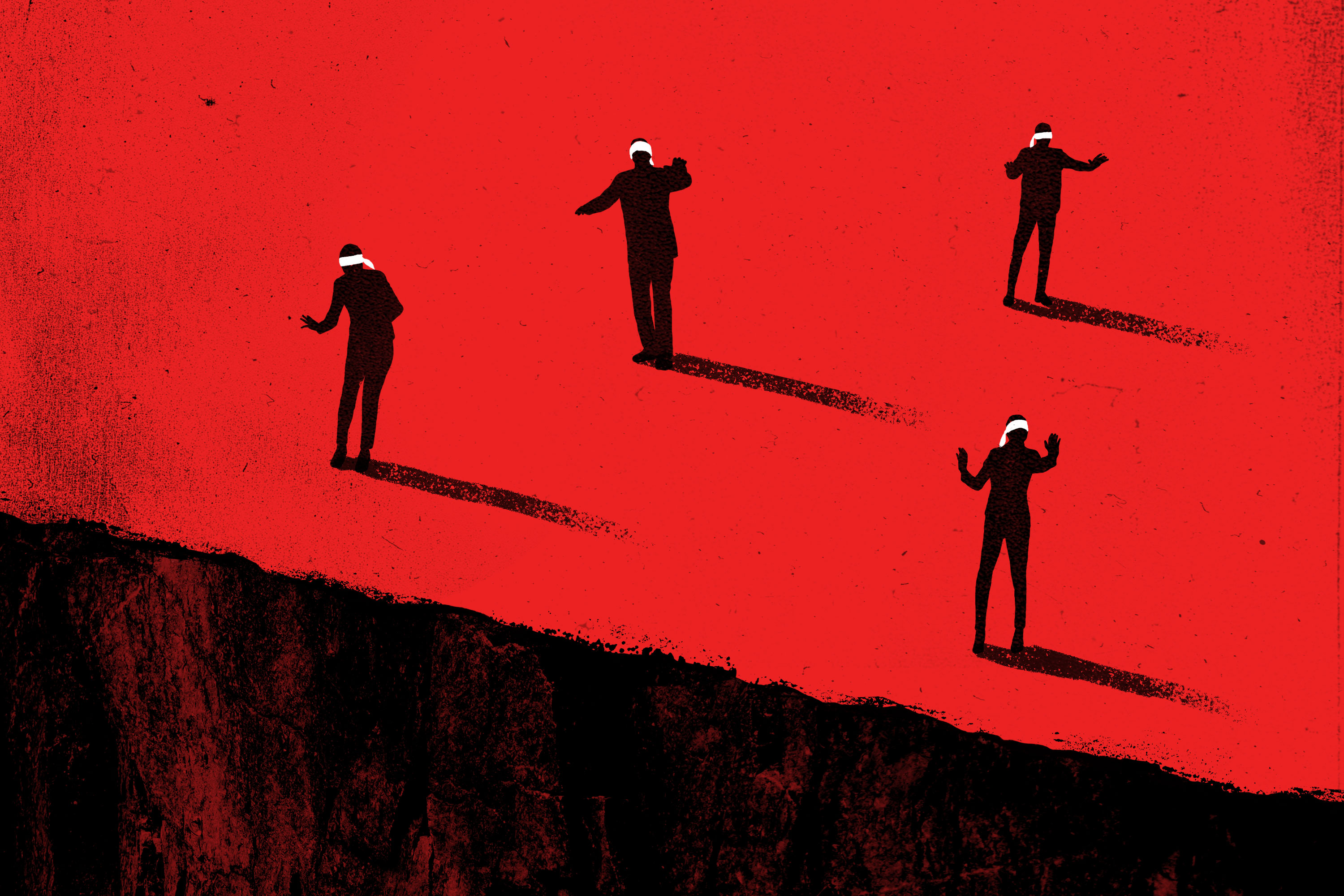 Illustration: Blindfolded people stumble around in a red landscape.